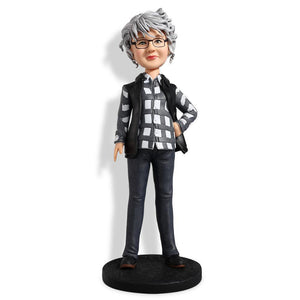 Female Wearing Striped T-shirt and Jacket Custom Bobblehead LEISURE My Bobblehead