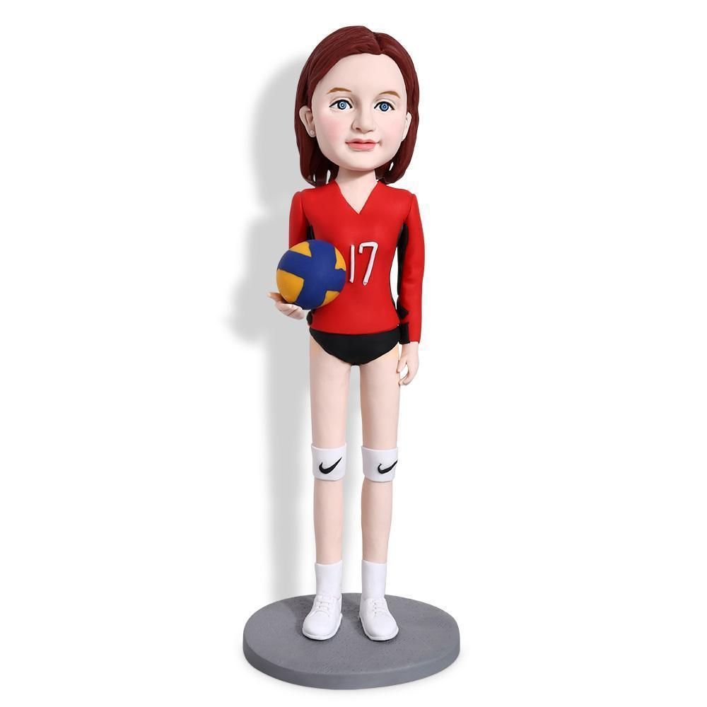 Gorgeous Girl Holding Volleyball Custom Bobblehead SPORTS My Bobblehead