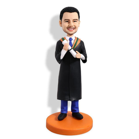 Male Graduate With Black Gown Holding Diploma Custom Bobblehead GRADUATION My Bobblehead