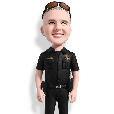 Male Police With Black Uniform Custom Bobblehead POLICE&SOLDIER My Bobblehead