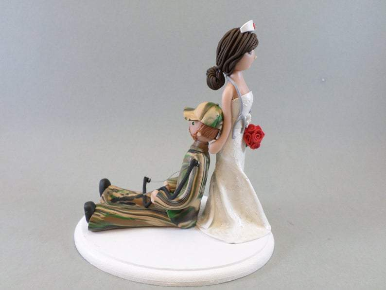 Nurse Dragging Hunter Custom Made Wedding Cake Topper cake topper My Bobblehead