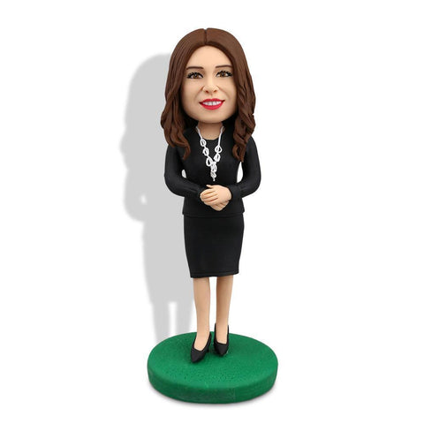 Office Lady Wear With Black Dress Custom Bobblehead WORKS My Bobblehead