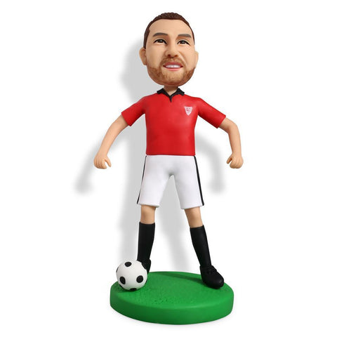 Soccer Player Dribbling With Red Shirt Custom Bobblehead SPORTS My Bobblehead