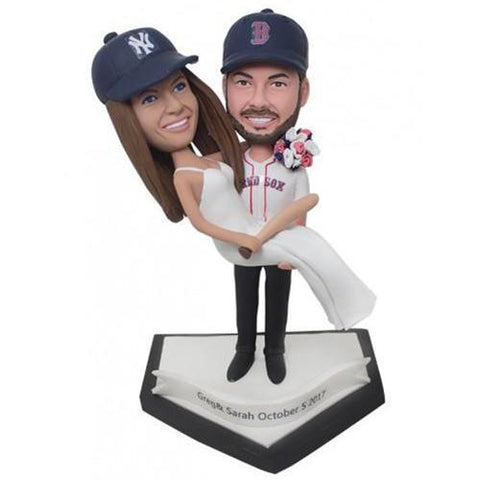 Sports Bridegroom Holds The Bride Custom Bobblehead COUPLES My Bobblehead