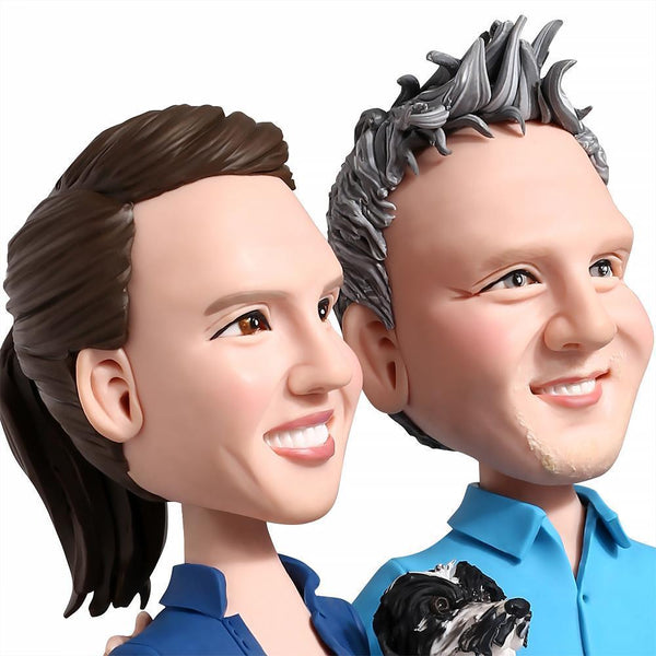 Sweet Couple With A Dog Custom Bobblehead COUPLES My Bobblehead