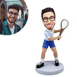 Tennis Player In Backswing Custom Bobblehead SPORTS My Bobblehead