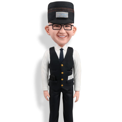 Train Attendant Custom Bobblehead WORKS My Bobblehead
