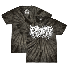 "Load image into Gallery viewer, ""Logo"" Spiral Black Tie Dye Shirt"