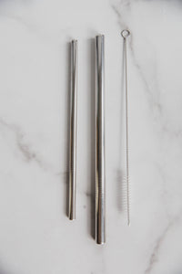 3-piece stainless steel straw set