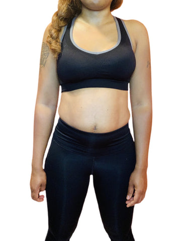 Women's Cut Out Detail Sports Bra (Black) - ShopChayah