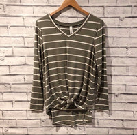 Olive Striped Vneck top