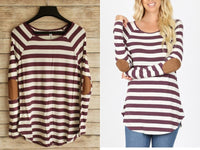 Plum Striped Elbow Patch Top