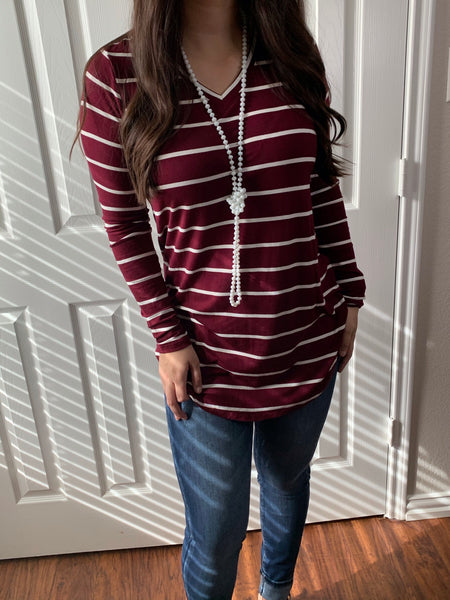 Burgundy Striped Vneck