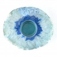 Agate Flat Blue Candle Holder-Miss V's Luminous Crystals