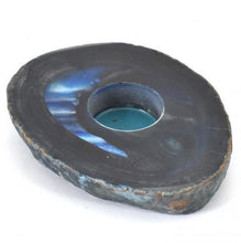 Load image into Gallery viewer, Agate Flat Blue Large Candle Holder-Miss V's Luminous Crystals