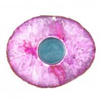 Agate Flat Pink Candle Holder-Miss V's Luminous Crystals