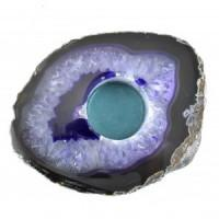 Agate Flat Purple Candle Holder-Miss V's Luminous Crystals