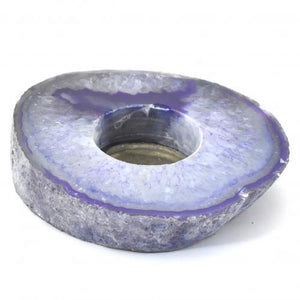 Agate Flat Purple Small Candle Holder-Miss V's Luminous Crystals