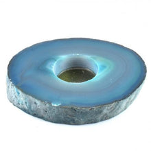 Load image into Gallery viewer, Agate Flat Teal Candle Holder-Miss V's Luminous Crystals