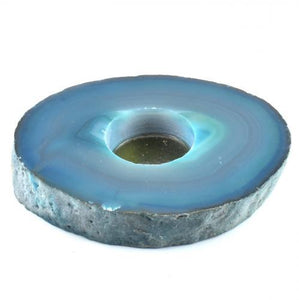 Agate Flat Teal Candle Holder-Miss V's Luminous Crystals