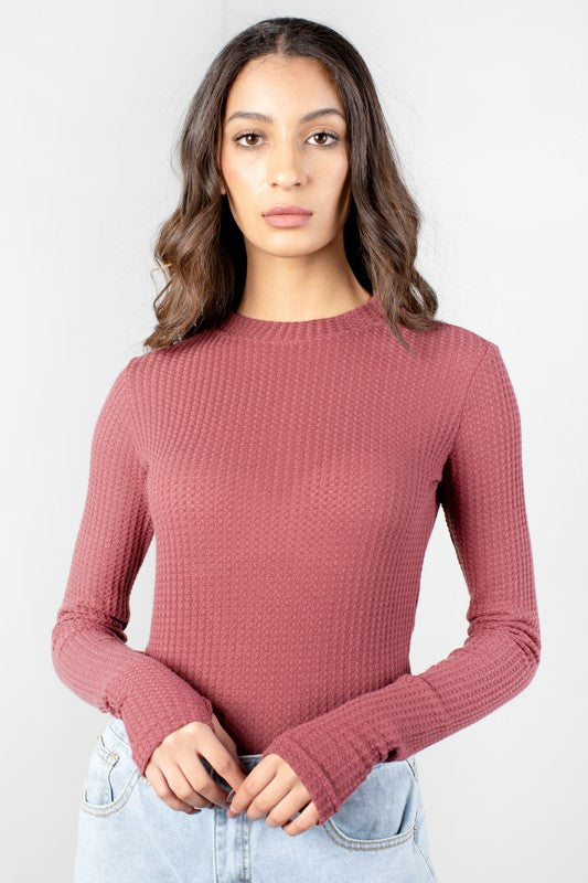 Arianna's Mauve Long Sleeve Top