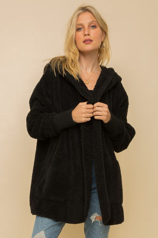 Black Bear Hooded Teddy Jacket