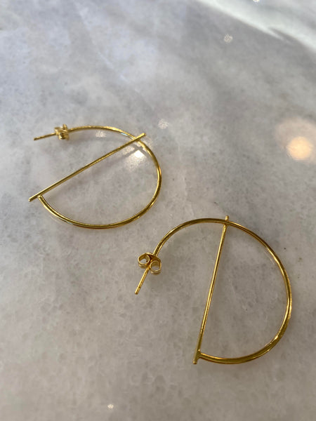 Struck Through Me Sterling Silver Hoop Earrings (More Colors)