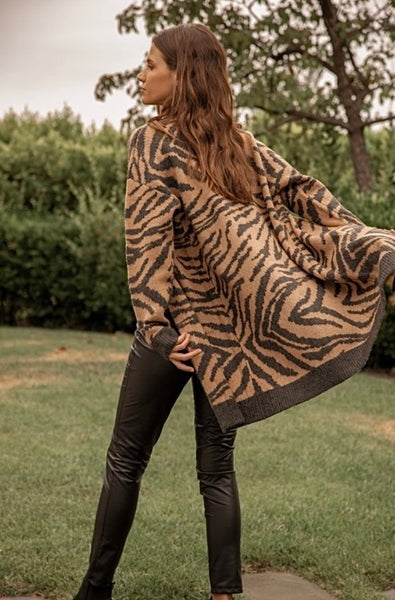 Tiger Print Jacquard Sweater