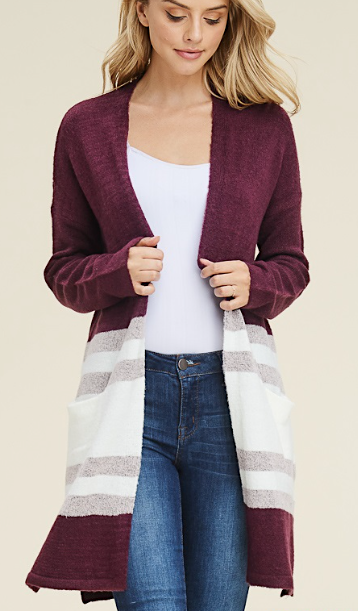 Burgundy Color Block Cardigan