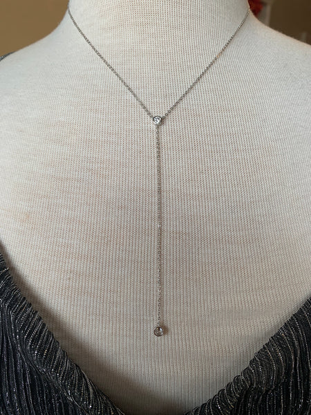 Sterling Silver Long diamond Necklace