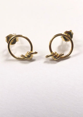 Wrapped Wire Gold Sterling Silver Stud Earring