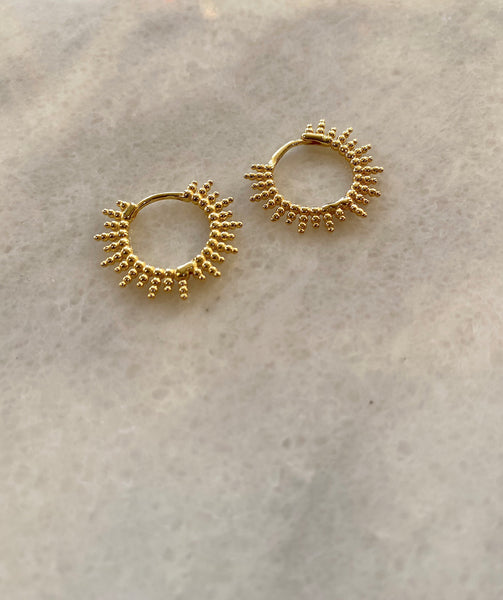 Around The Sun Sterling Silver Gold Hoop Earring