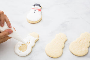 Snowman Sugar Cookies with Royal Icing