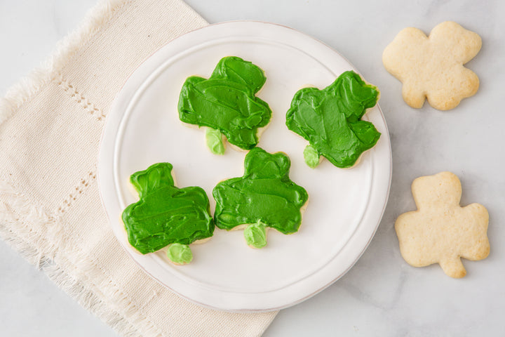 Shamrock Sugar Cookies with Buttercream Frosting