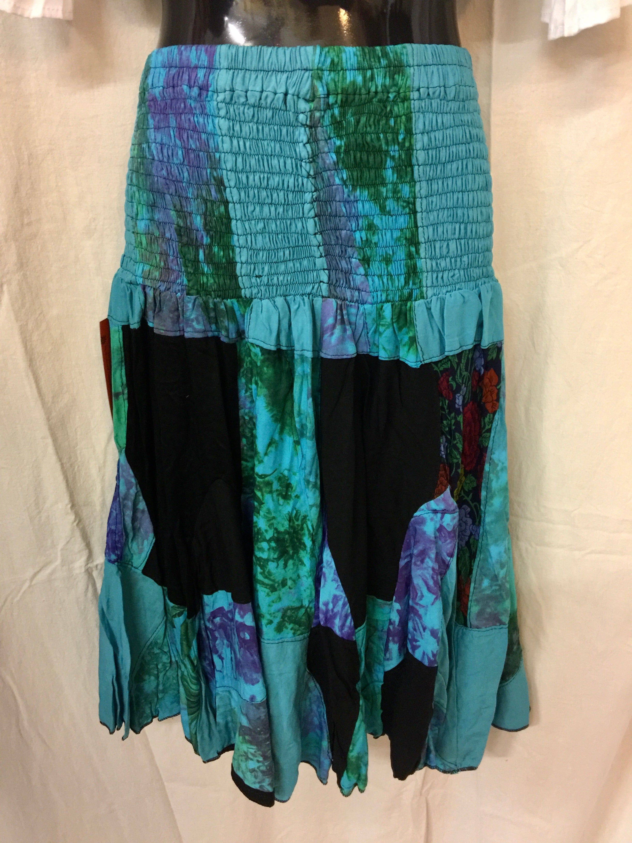 Patchwork Skirt - Blue
