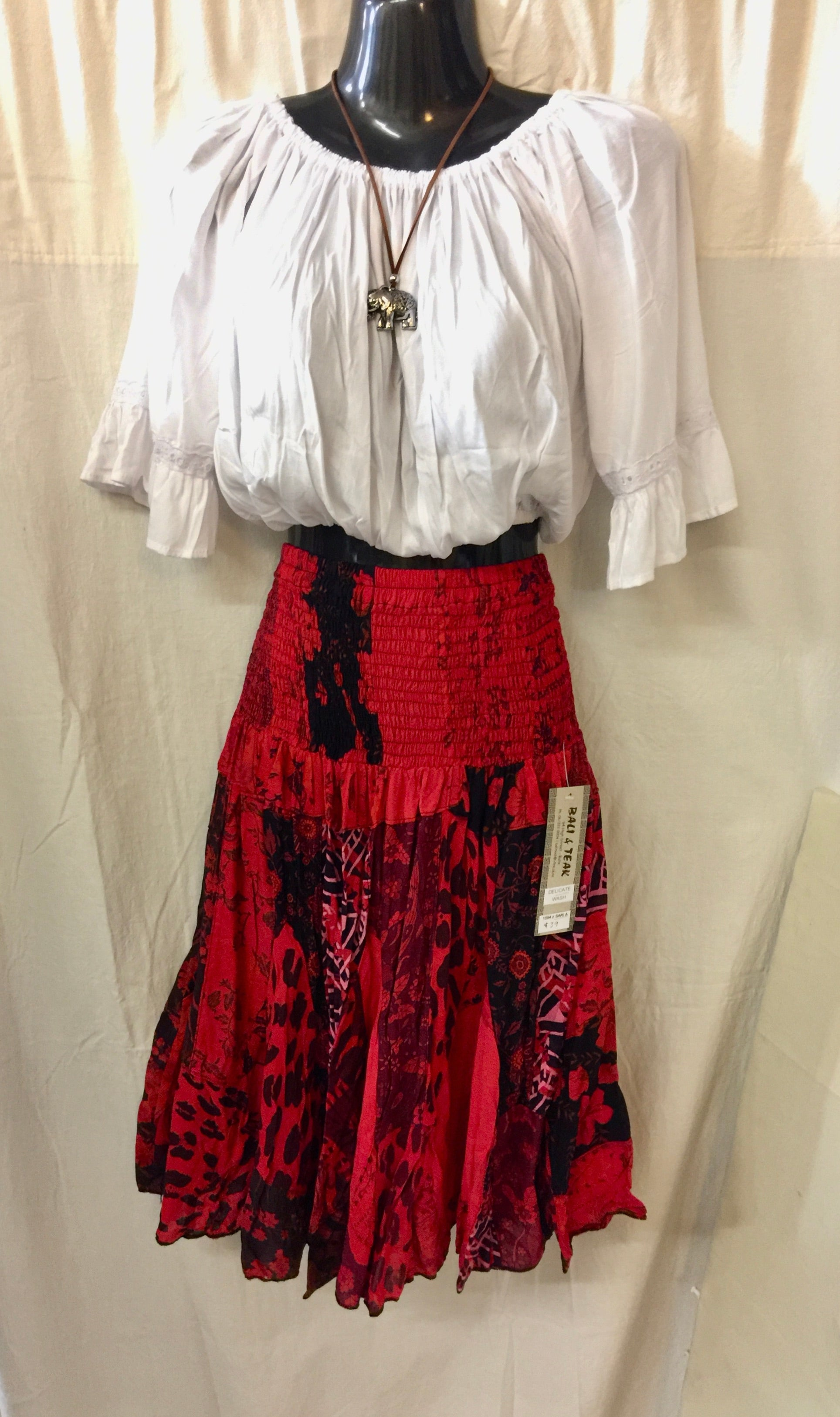 Patchwork Skirt - Red