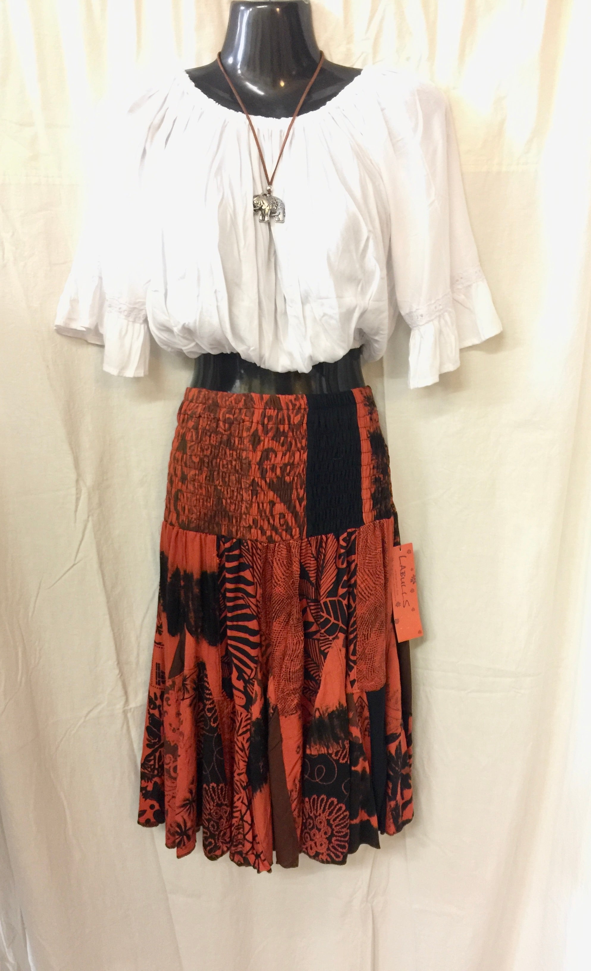 Patchwork Skirt - Orange