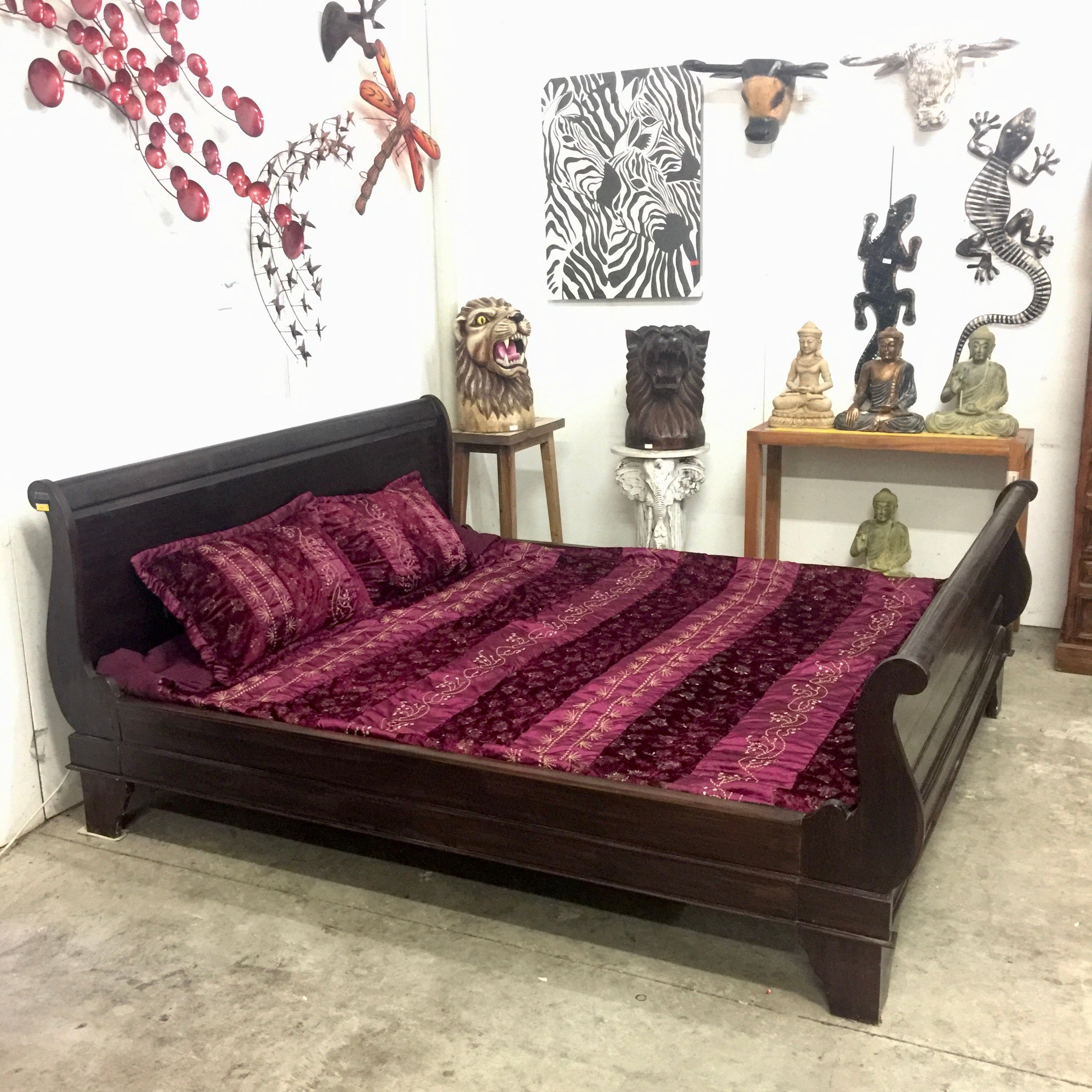Teak - Sleigh Bed - Super King