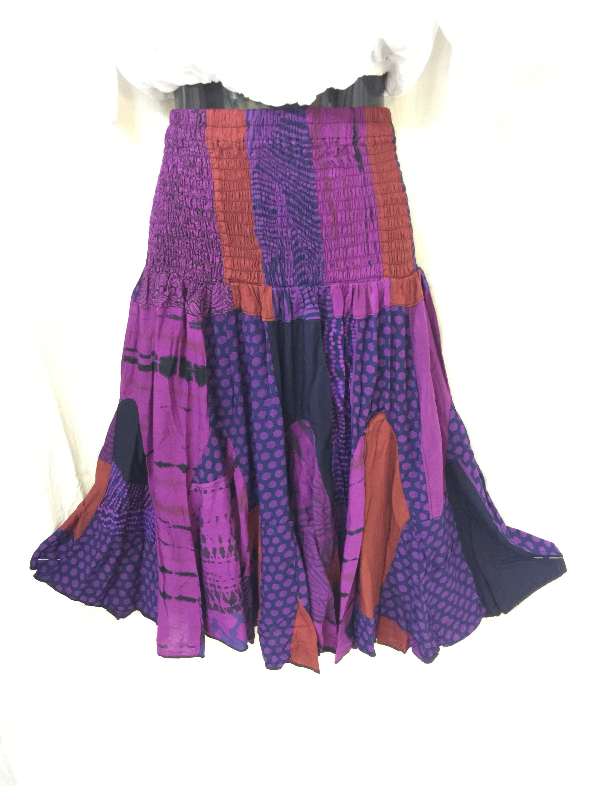 Patchwork Skirt - Purple