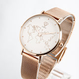 Womens watch with world map dial | rose gold mesh strap - Dorsya
