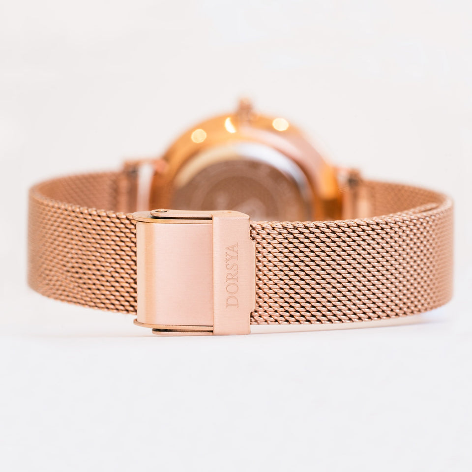 Nortia | rose gold mesh strap | Dorsya