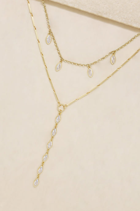 Ariella Glass Crystal 18k Gold Plated Layered Lariat Necklace - SteelJoy!