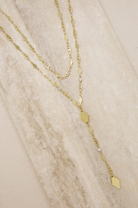 Augustine Layered Lariat Necklace - SteelJoy!