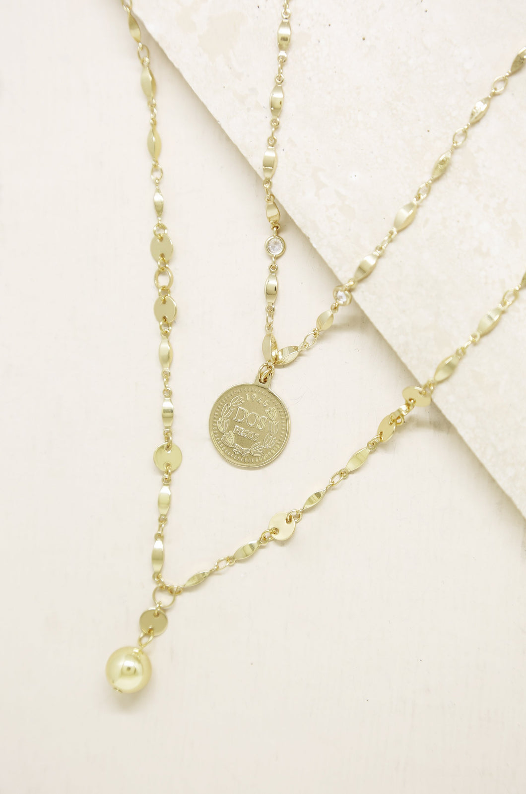 Ball and Chain 18k Gold Plated Coin Necklace Set - SteelJoy!