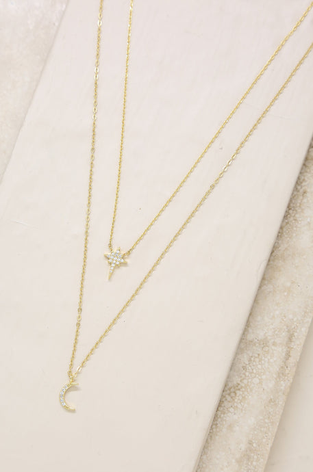 Celestial Crystal 18k Gold Plated Necklace Set - SteelJoy!