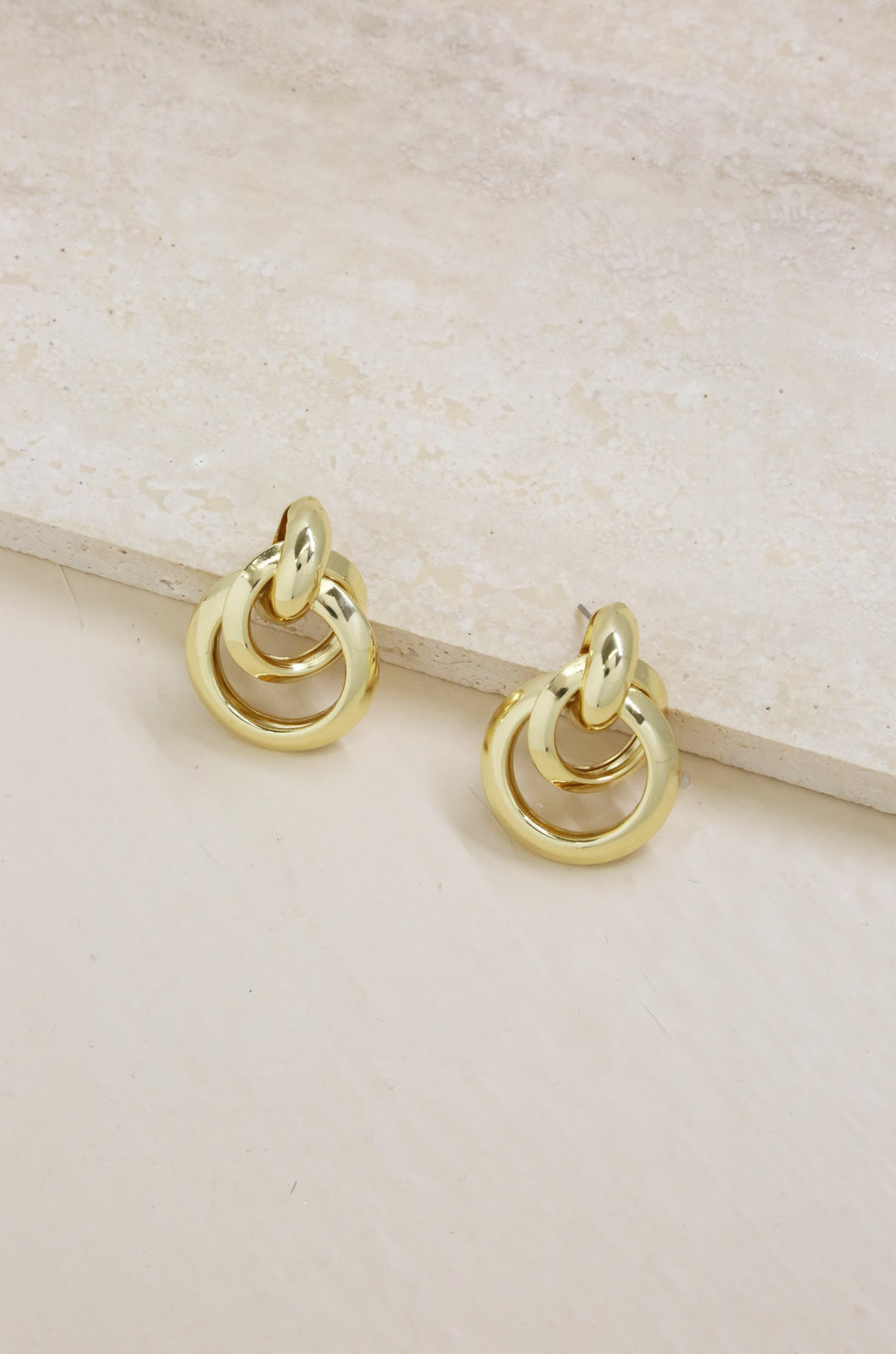 Classic Vibes Multi Ring 18k Gold Plated Statement Stud Earrings - SteelJoy!