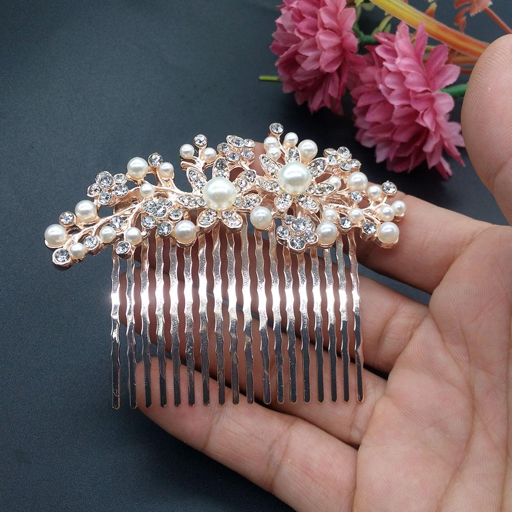 Flower Faux Pearl Rhinestone Hairpin Comb - SteelJoy!