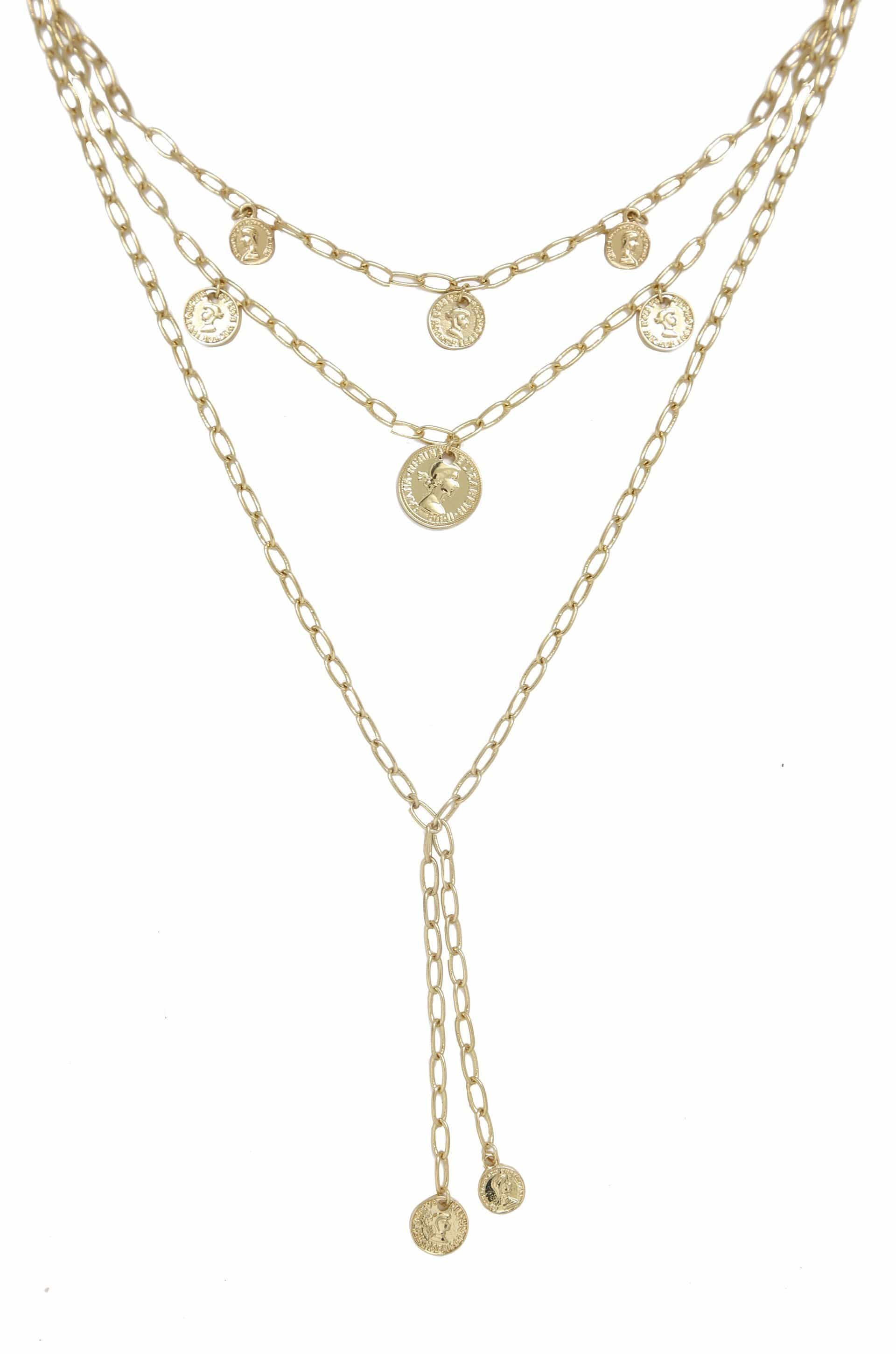 Mini Coin 18k Gold Plated Layered Necklace - SteelJoy!