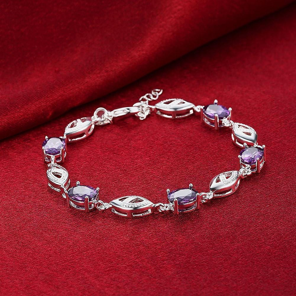 Purple Swarovski Oval Cut Bracelet in 18K White - SteelJoy!