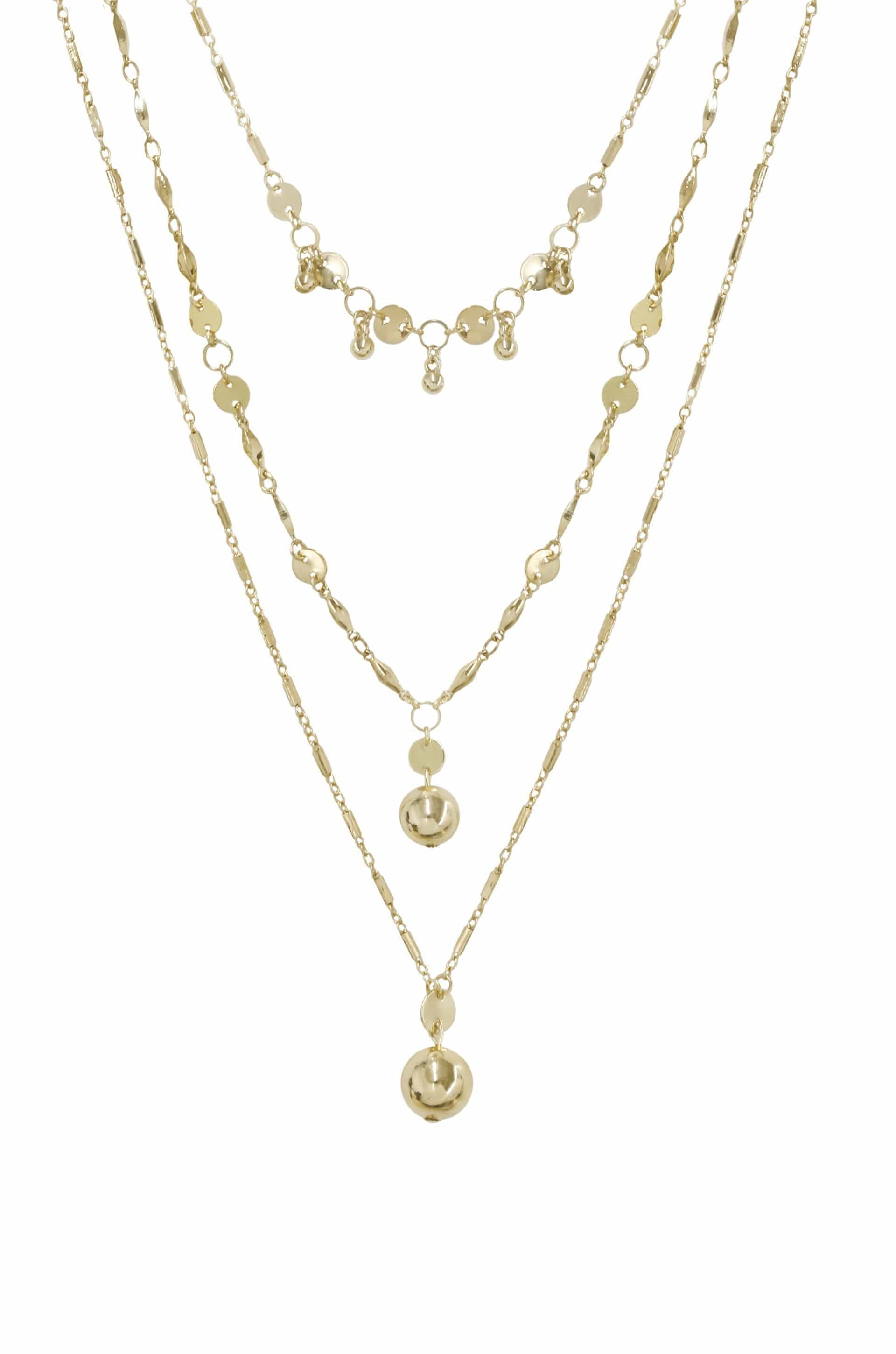 Triple Threat Gold Ball Charm Necklace Set - SteelJoy!